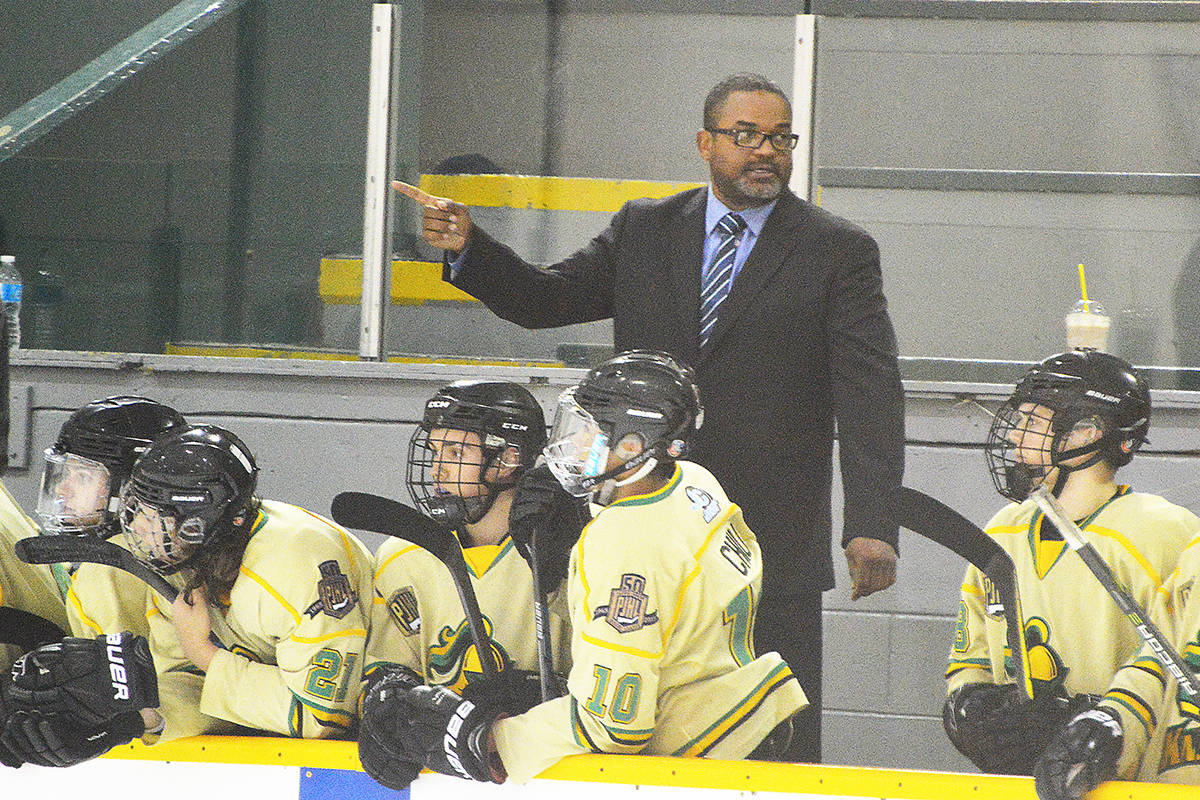 John Craighead, coach and majority owner of Surrey Knights, on the bench during his PJHL team's season-opening game Sept. 6, 2018 at North Surrey Recreation Centre. (File Photo: Tom Zillich)