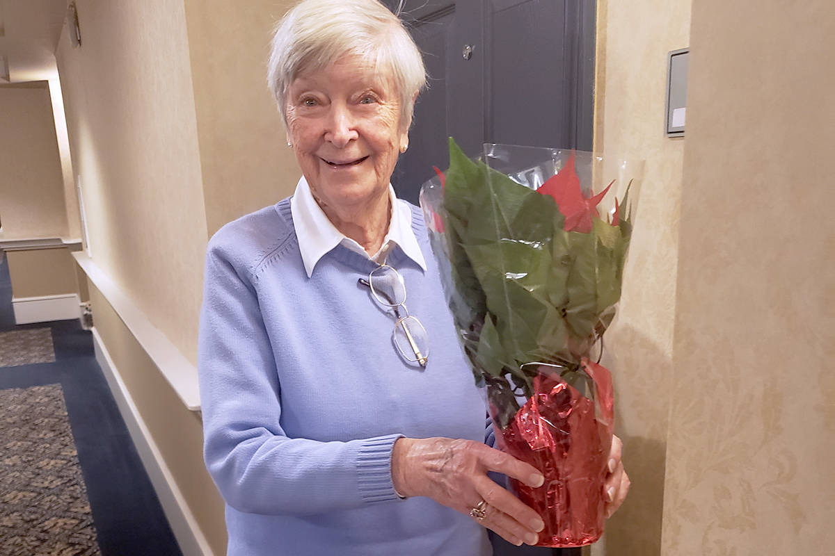 With the help of some local students about 200 poinsettia plants were delivered to the senior who live at Charwell Langley Gardens in early December 2020. (Jessie Vander Eyk/Special to the Langley Advance Times)