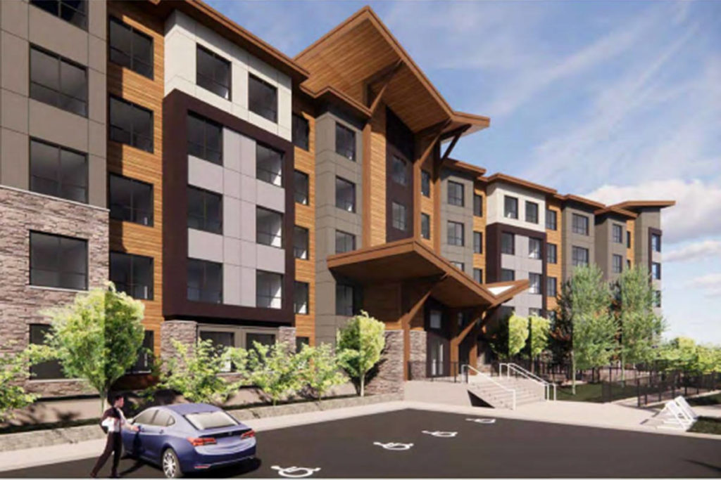 An architect's rendering of the proposed apartment building planned by Christian Life Assembly. (Township of Langley/Special to the Langley Advance Times)