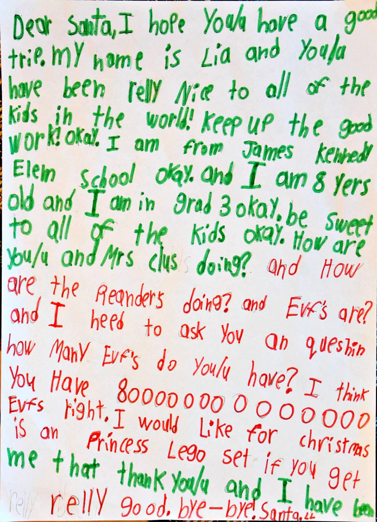 Lia, Grade 3, James Kennedy Elementary