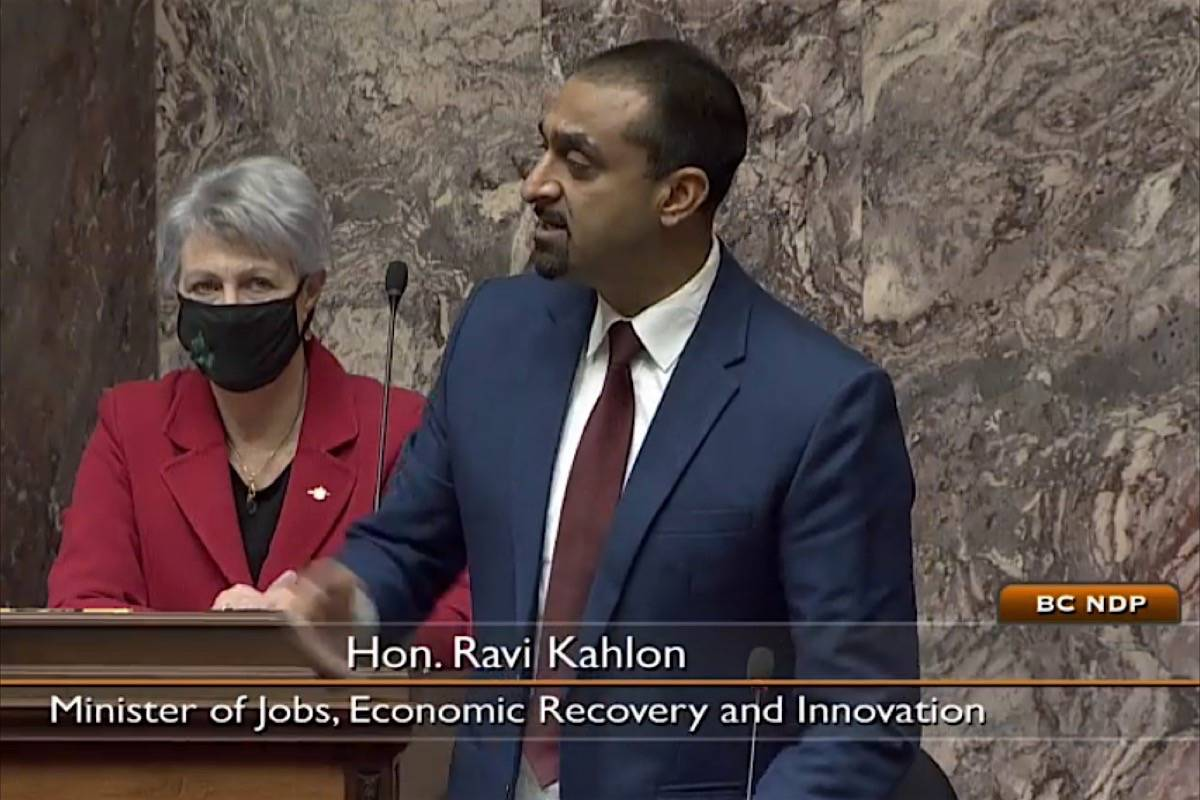 Jobs Minister Ravi Kahlon speaks in the B.C. legislature, describing work underway to make a small business and tourism aid package less restrictive, Dec. 10, 2020. (Hansard TV)