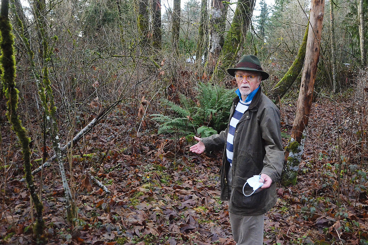 David Gray says the expansion of the Trans Mountain pipeline will knock down a wooded area on his property where he and his wife walk every day. (Matthew Claxton/Langley Advance Times)