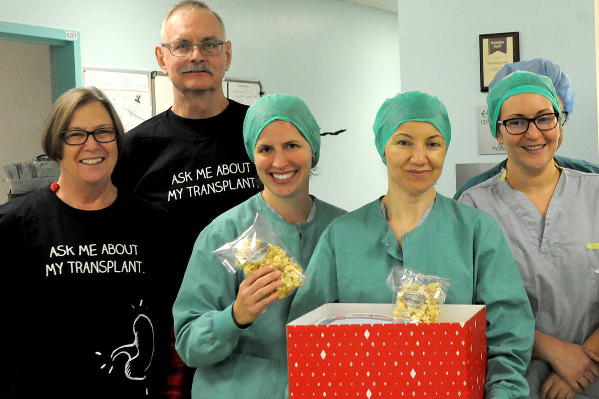 Charlie and Diane Fox delivered treats to the nurses at Langley Memorial Hospital through Operation Popcorn last December. (Black Press Media files)