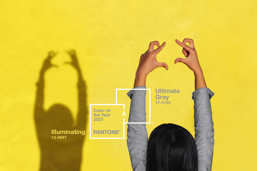 PANTONE 17-5104 Ultimate Gray and PANTONE 13-0647 Illuminating yellow have been selected as the Pantone Color of the Year 2021. (Courtesy of Pantone Color Institute)