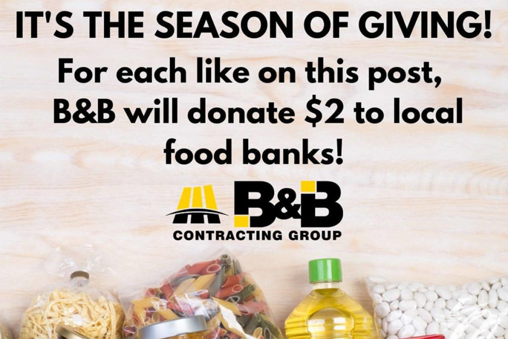 B&B Contracting is holding a social media campaign that will raise money for food banks in Langley and Surrey. (B&B Contracting Instagram)