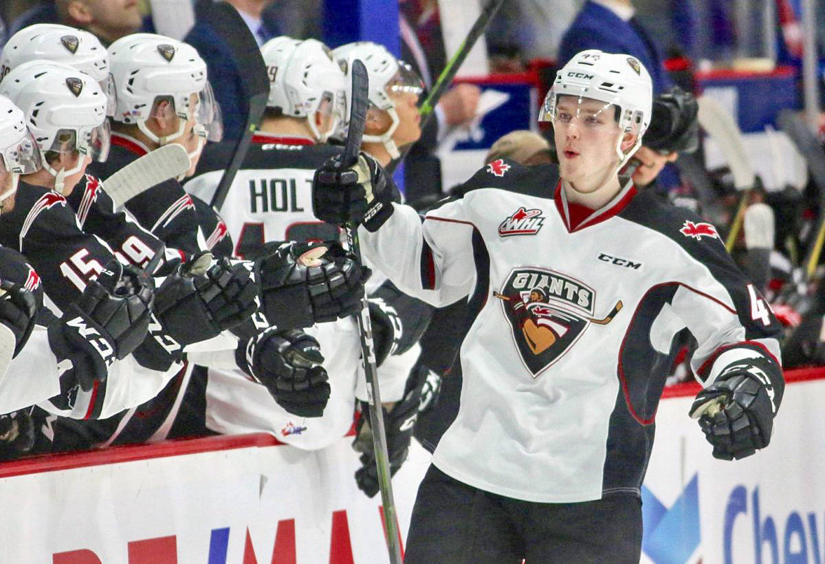 Vancouver Giants defenceman Bowen Byram has been named to Team Canada, the second year the star player with the Langley-based WHL team has made the roster. (File photo by Rik Fedyck)