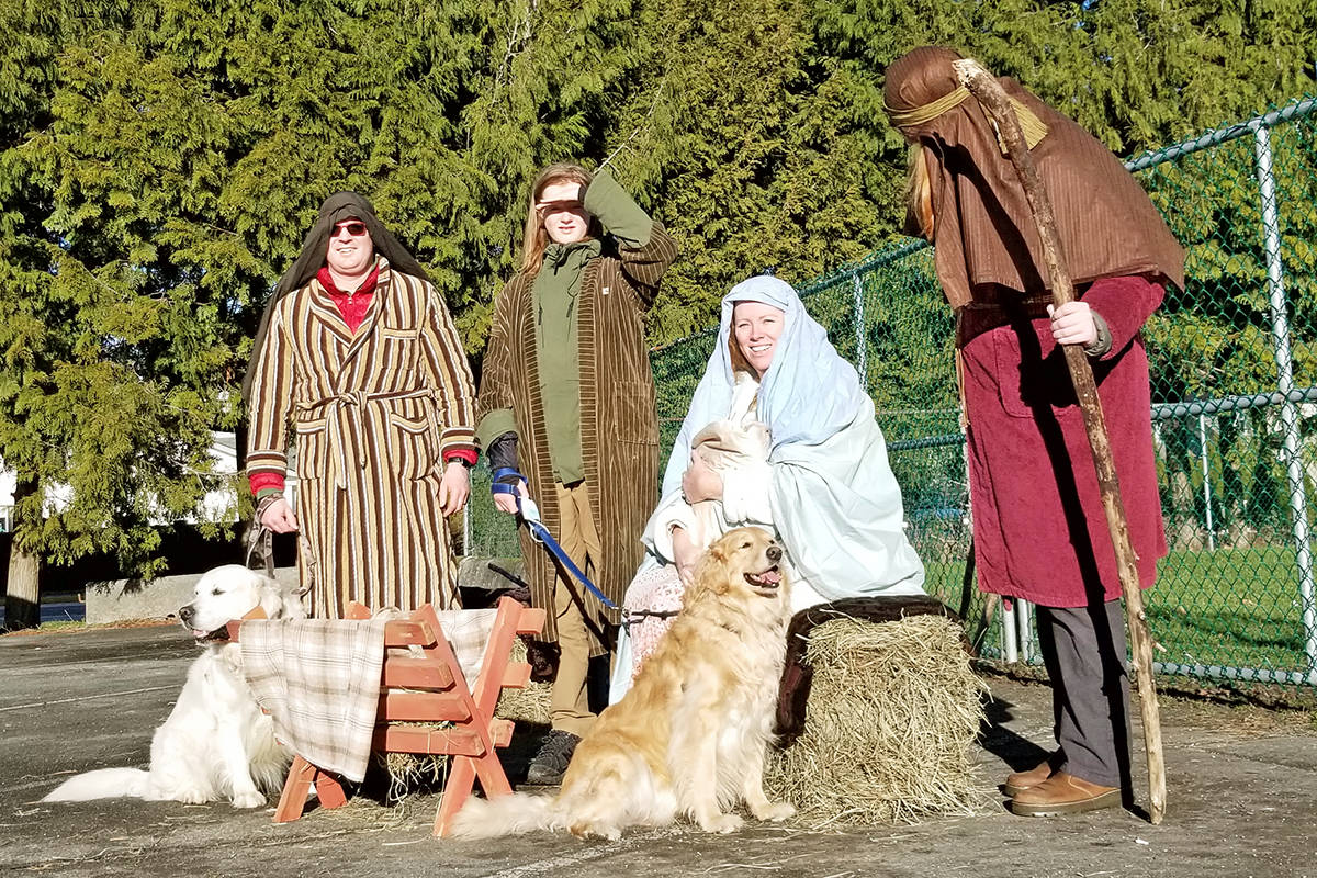 A reminder of what Christmas is really about, courtesy of the Shilton family. Dad Mike (L), son Josh, mom Niki and son Sam were a living nativity scene at the Langley Legion on Saturday, Dec. 12, during a one-day donation drive that set a record at the Aldergrove Food Bank (Dan Ferguson/Langley Advance Times)