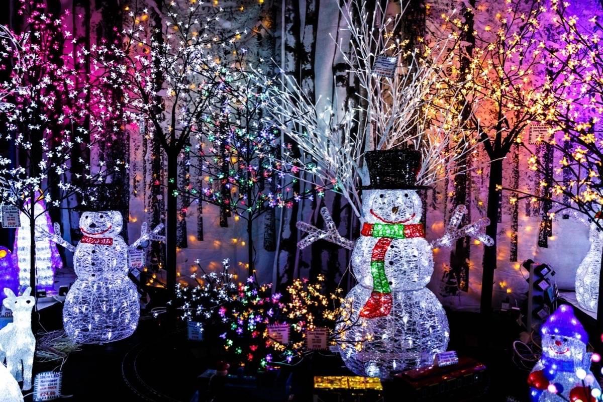 Christmas light display, no date. Stock photo