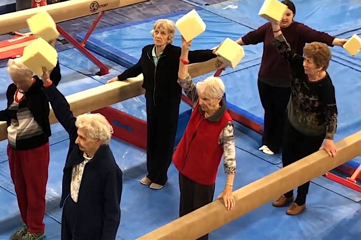 Seniors use gymnastics equipment for routines to improve their balance and flexibility, one of the programs developed to keep B.C.'s growing number of seniors active and independent. These programs have been suspended, seniors' activity centres closed due to COVID-19. (Delta Gymnastics Society)