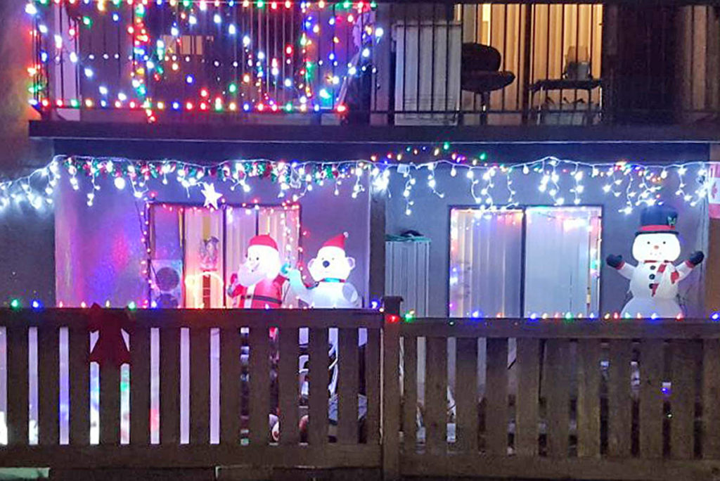 Residents of the Langley City housing complex managed by the Langley Lions Housing Society have brightened up the buildings with Christmas lights (Special to Langley Advance Times)