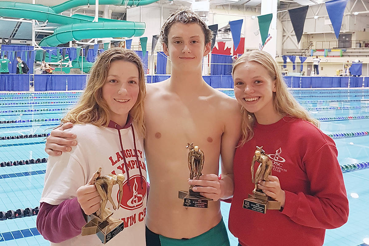 Katelyn Schroeder, Hugh McNeill and Bailey Herbert all won the aggregate award in their categories in Victoria in March 2020. They were among 10 LOSC swimmers cited for their achievements by Swim BC for the Canadian Sport Institute Pacific (file)