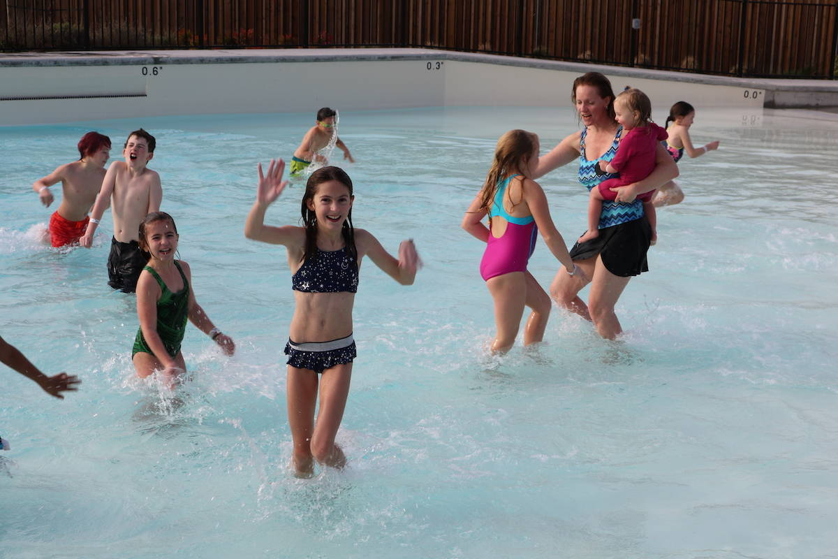 In its first year, the polar bear plunge at the Aldergrove Credit Union Community Centre drew about 80 people. (Aldergrove Star files)