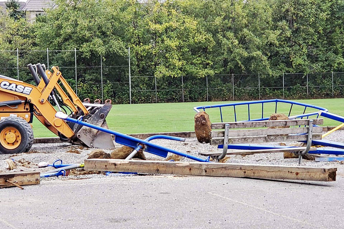 Parent advisory councils are involved in many aspects of local education. The Langley School District removed the old playground in August 2019 and soon after, parents and other volunteers built the new playground. (Dorothy Peacock PAC photo)