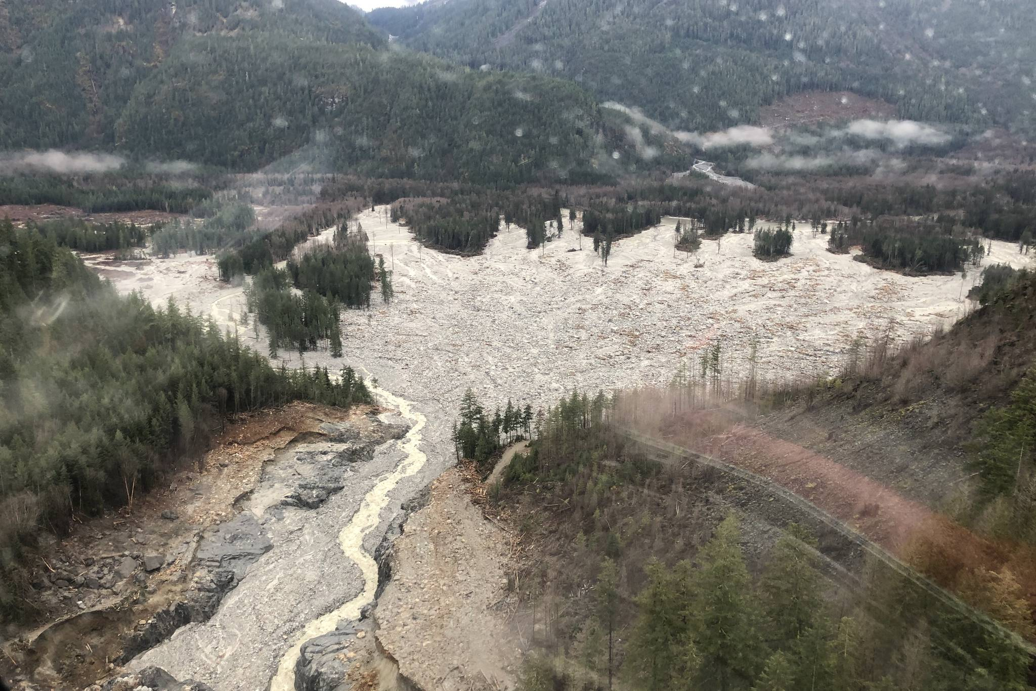 A mid-December ariel view of impacted waterways and the devastation of salmon habitat from a November landslide near Elliot Creek in the Coast Mountains of B.C. (Photo supplied by 49 North Helicopters)