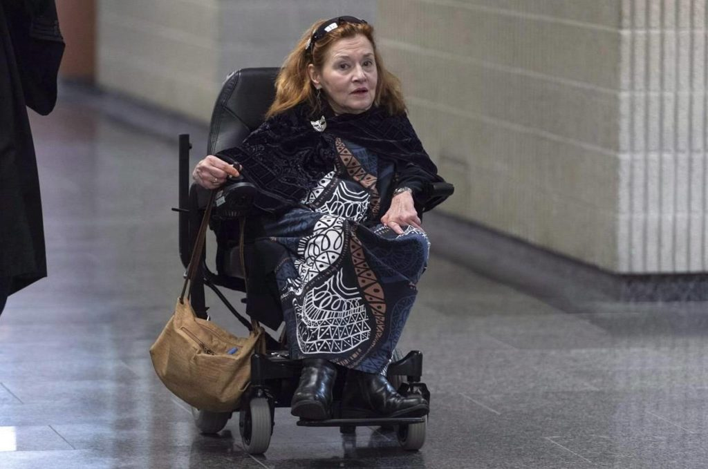 Nicole Gladu, who is incurably ill, arrives at the courthouse in Montreal on Jan. 7, 2019, for the beginning of a trial challenging the provincial and federal laws on medically assisted death on the grounds they are too restrictive. THE CANADIAN PRESS/Paul Chiasson