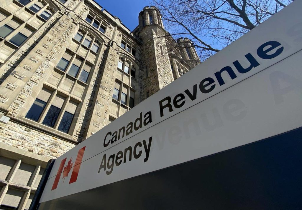 The Canada Revenue Agency building is seen in Ottawa, Monday April 6, 2020. Opposition MPs pressed officials Thursday to say how pared they are to begin collecting GST on sales by foreign companies such as Netflix, AirbnB and Amazon starting next year, as proposed by the Liberal government. THE CANADIAN PRESS/Adrian Wyld