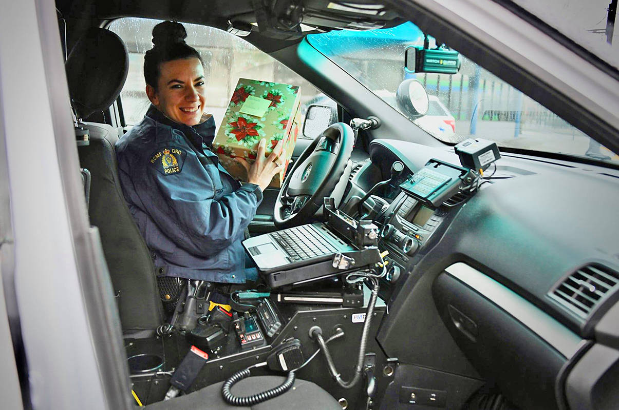 Const. Britteny George has made more than 800 Christmas cards to hand out to seniors in Maple Ridge and Pitt Meadows. (Special to The News)