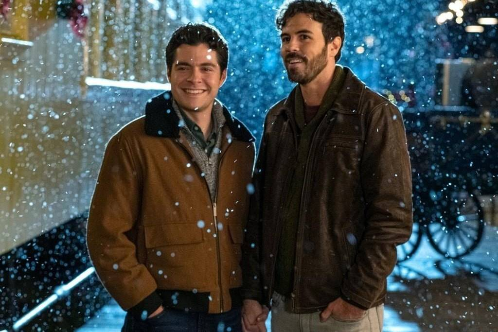 "Actors Ben Lewis (left) and Blake Lee are shown in a scene from the film ""The Christmas Setup."" (Bell Media photo)"