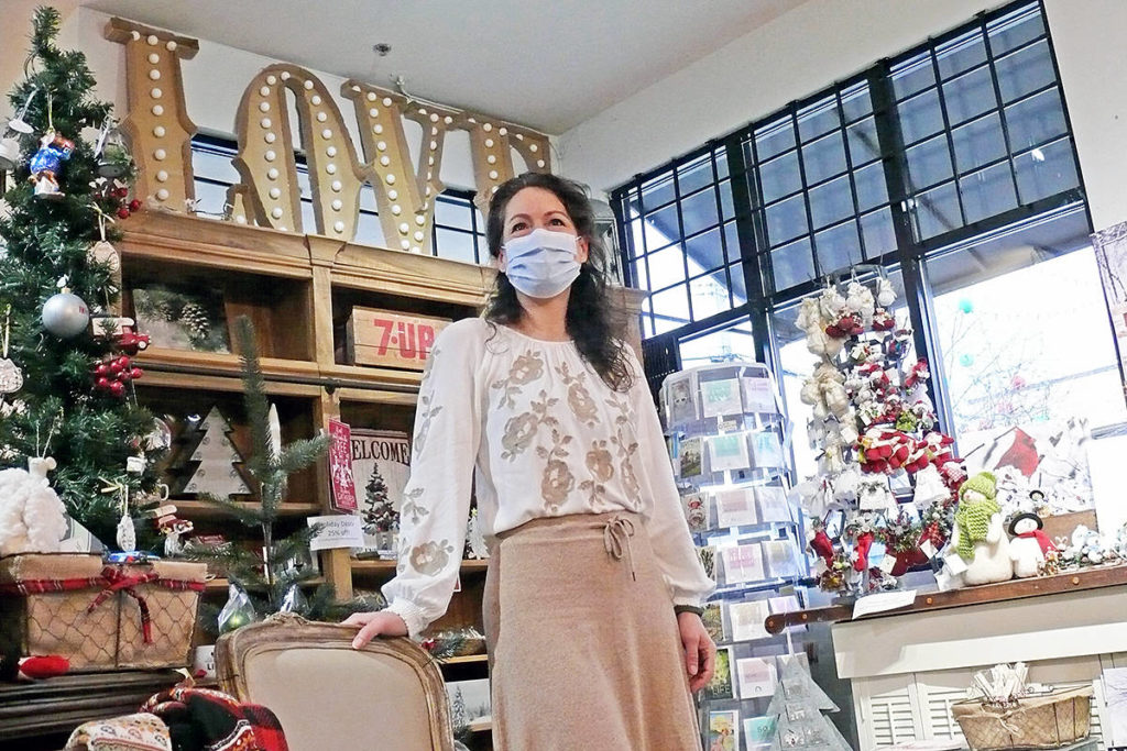 The Passionate Home owner Carrie Thachuk, seen here in her Langley City store in McBurney Plaza on Saturday, Dec. 19, 2020, is selling a lot more than she used to over the internet (Dan Ferguson/Langley Advance Times)