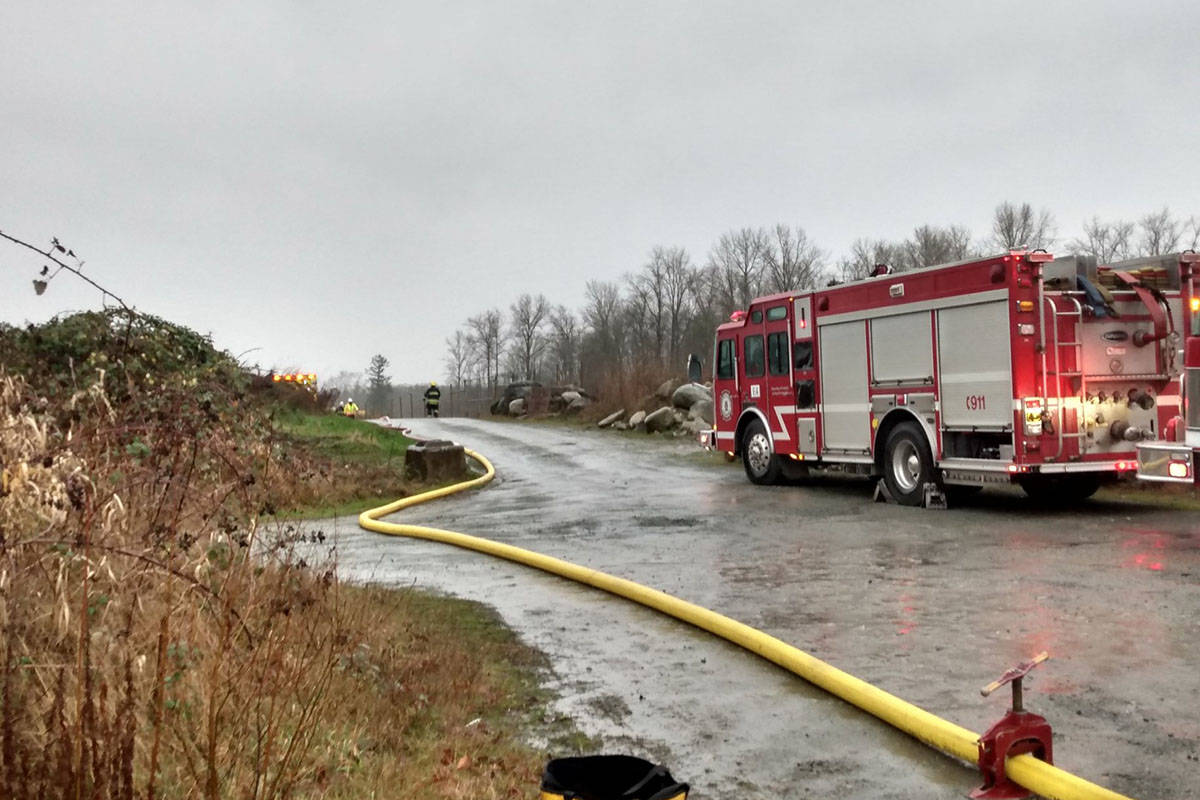 Township firefighters were called to a fire in the 22100 block of 16th Avenue on Wednesday, Dec. 16, 2020. (Ryan Uytdewilligen/Langley Advance Times)