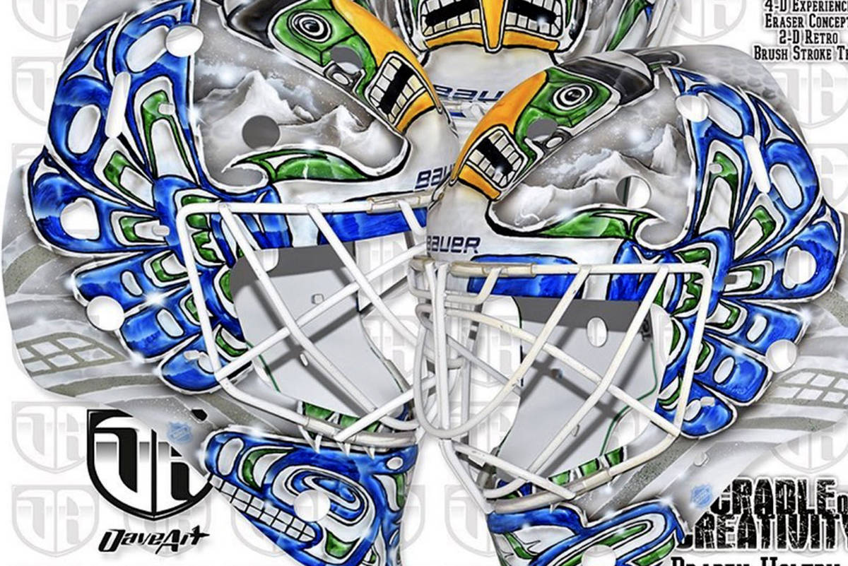 Vancouver Canucks goaltender Braden Holtby's new helmet design, created by Swedish artist David Gunnarson, came under fire this week on accusations of cultural appropriation. (David Gunnarson, Instagram)