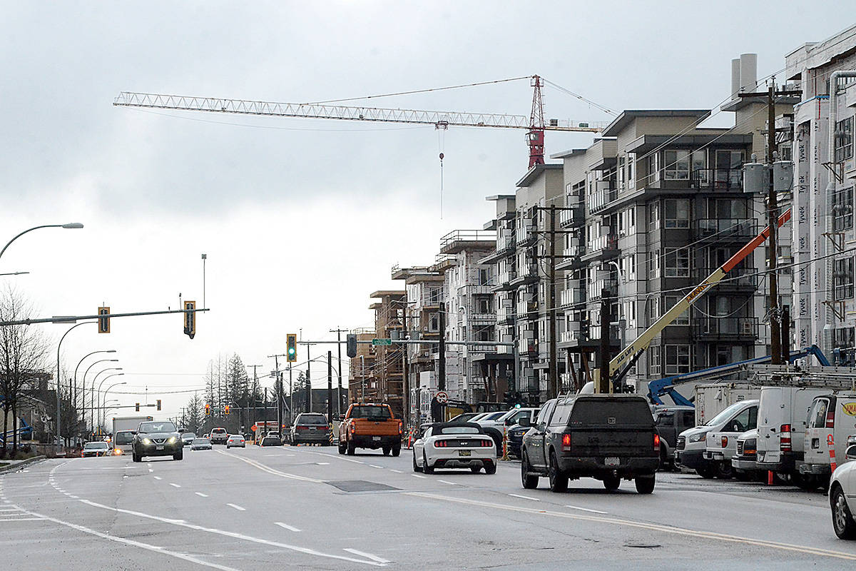 Developers have widened parts of 208th Street in Willoughby, but the road still narrows to two or three lanes for much of its length. (Matthew Claxton/Langley Advance Times)