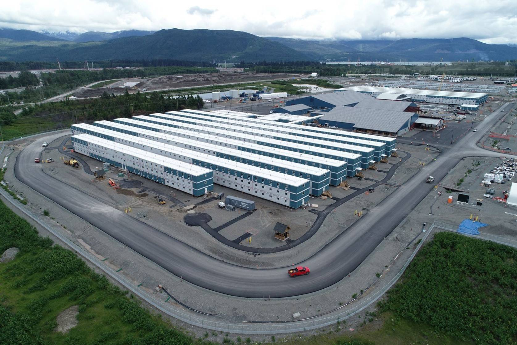An aerial shot of Cedar Valley Lodge, LNG Canada's newest accommodation for workers on their project site in Kitimat. LNG Canada had a second COVID-19 outbreak declared, just weeks after the first was announced Nov. 19. (Photo courtesy of LNG Canada)