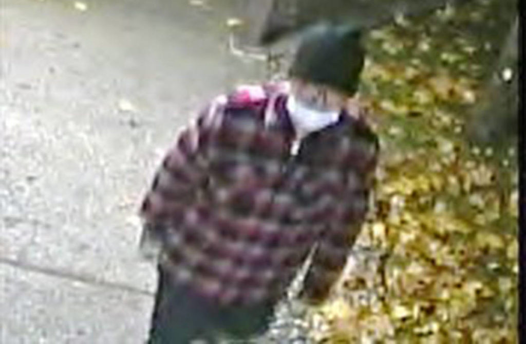 Burnaby RCMP released this photo on Thursday, Dec. 16, 2020, of a possible suspect in an arson investigation at Burnaby Hospital on the night of Nov. 15, 2020. (RCMP handout)