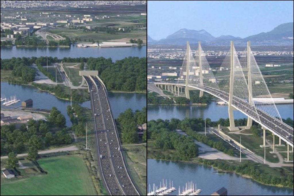 The province is considering two options to replace the aging George Massey Tunnel: an eight-lane immersed tube tunnel and an eight-lane bridge. (Province of British Columbia images)