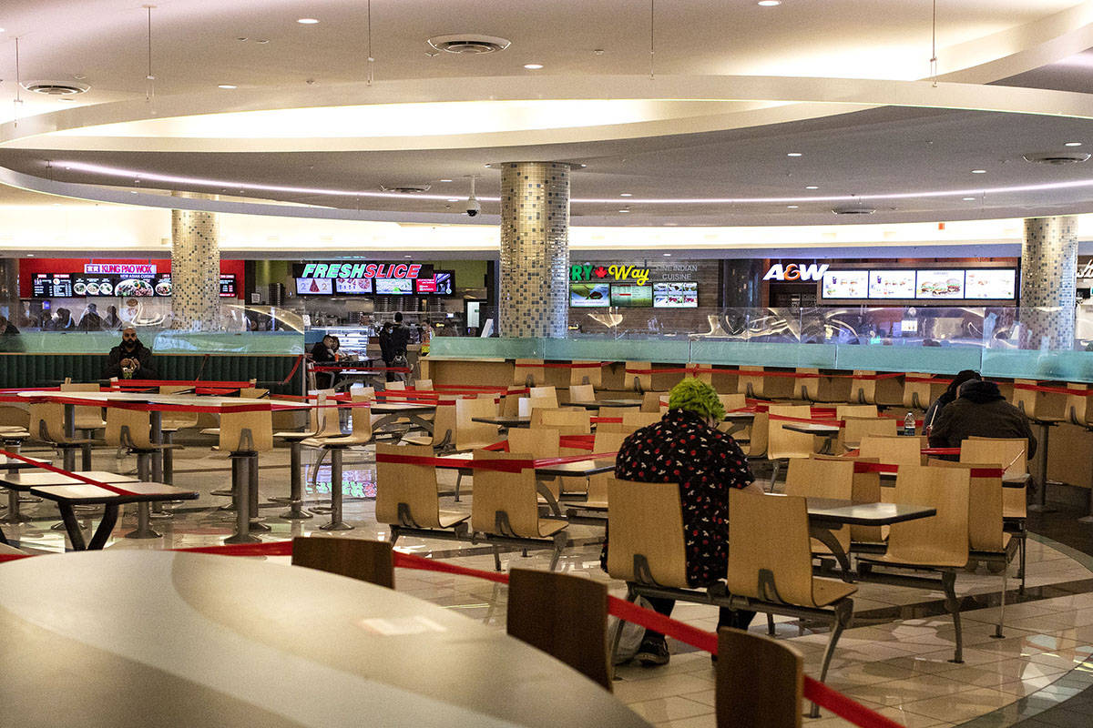 Shopping mall food court in Surrey, B.C., Thursday, Dec. 4, 2020. THE CANADIAN PRESS/Marissa Tiel