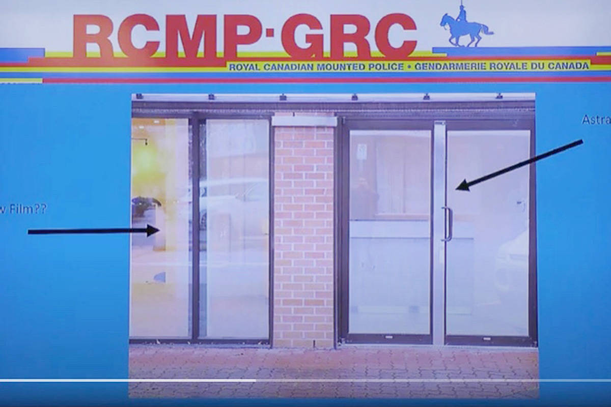 A screencap from one of the CPTED videos made by the Langley RCMP, showing security measures on local shop doors. (Langley RCMP/Special to the Langley Advance Times)