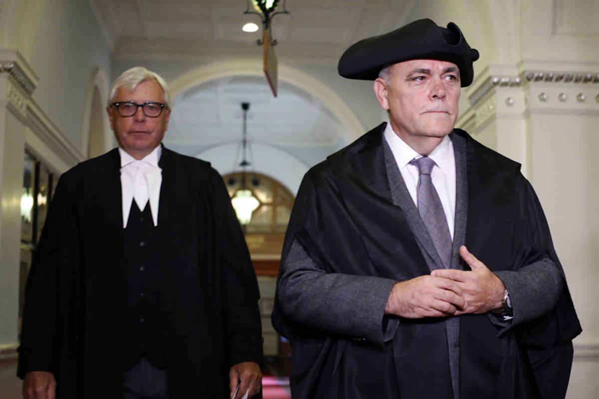 B.C. legislature Clerk Craig James (left) retired in 2019 after accusations by Speaker Darryl Plecas were substantiated. (The Canadian Press)