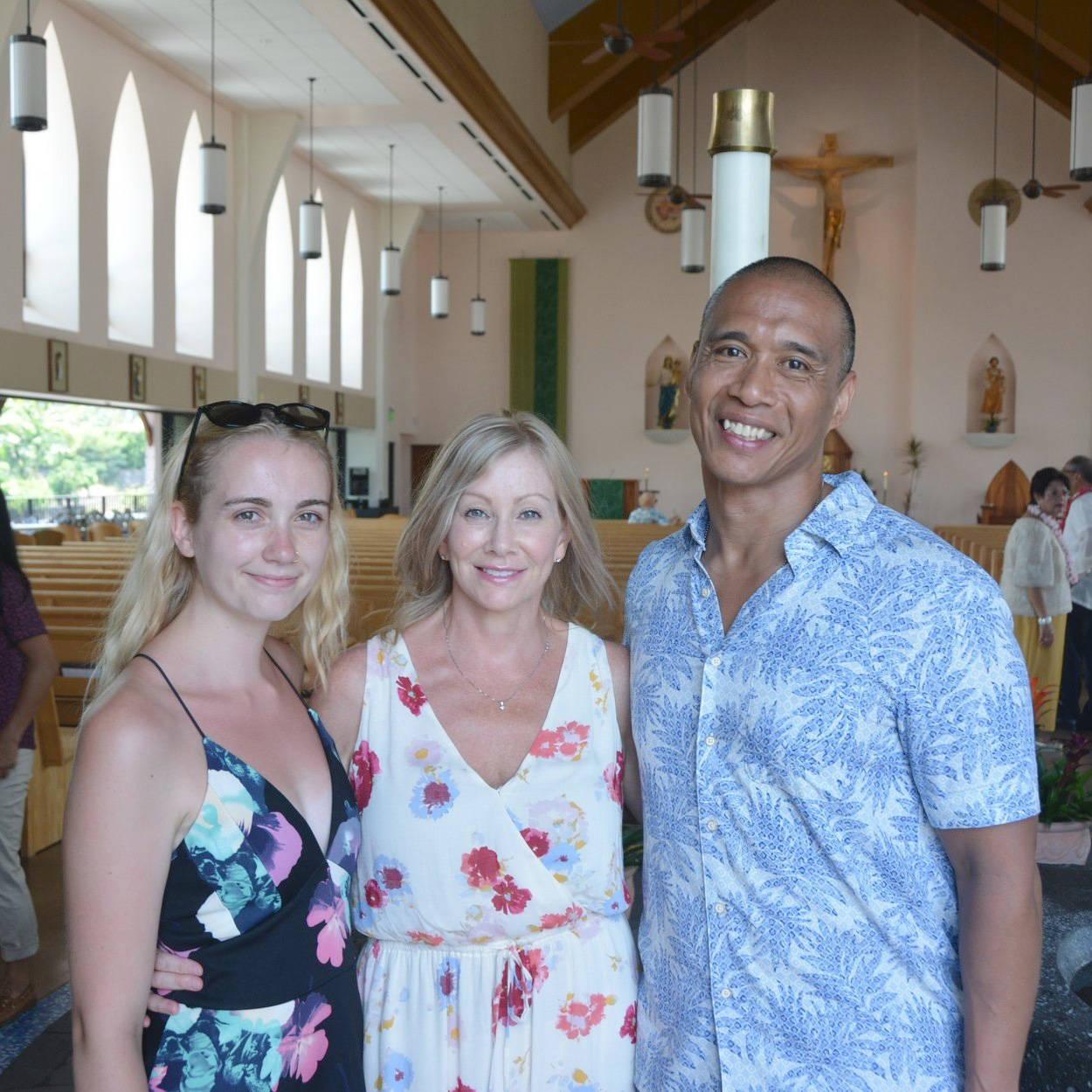 Emma Walton, Tracey Walton and Apollo Edmilao visited a church on Kona during a family trip. (Edmilao photo/Special to the Langley Advance Times)