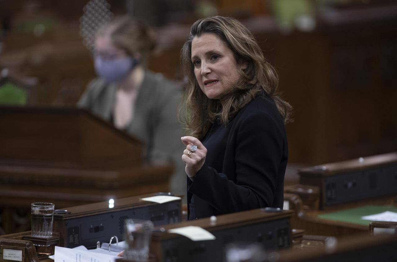Deputy Prime Minister and Minister of Finance Chrystia Freeland responds to a question during Question Period in the House of Commons Tuesday December 1, 2020 in Ottawa. THE CANADIAN PRESS/Adrian Wyld