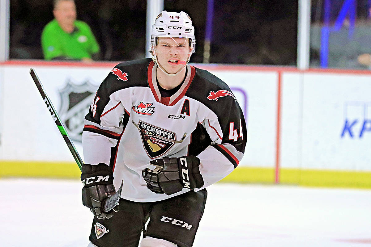 Giants defenceman Bowen Byram has been named an alternate Team Canada captain (Rob Wilton/special to Langley Advance Times)