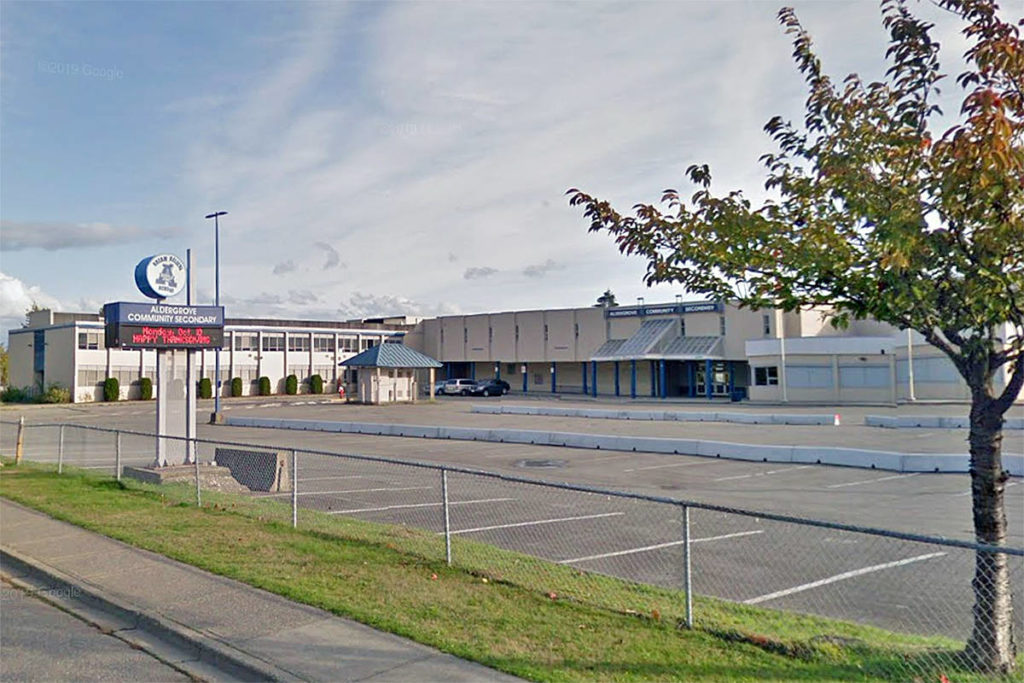Undated Google maps image of Aldergrove Community Secondary. COVID exposure notices were issued to parents at four Langley school on Saturday, Dec. 20 (Google)