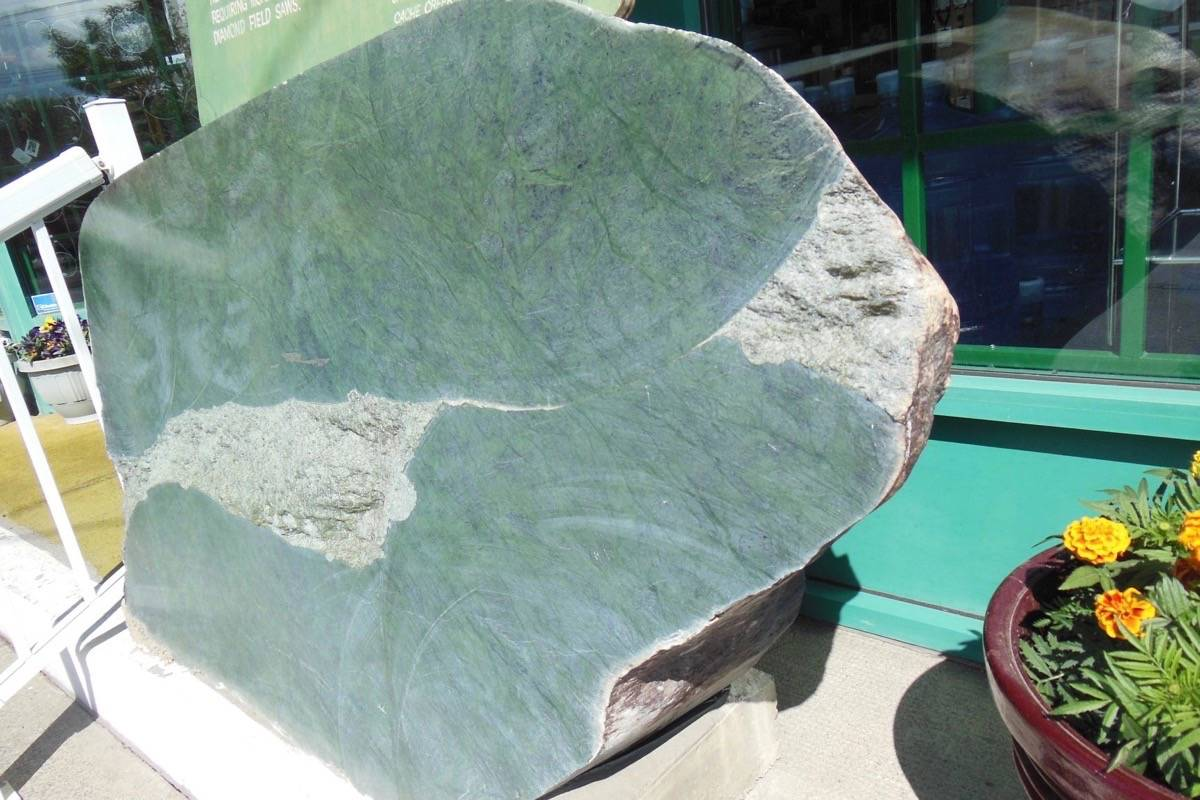This one foot thick jade boulder, weighing 2,850 pounds, was stolen from outside the Cariboo Jade Shop in Cache Creek on the night of Dec. 19. (Photo credit: Cariboo Jade Shop)