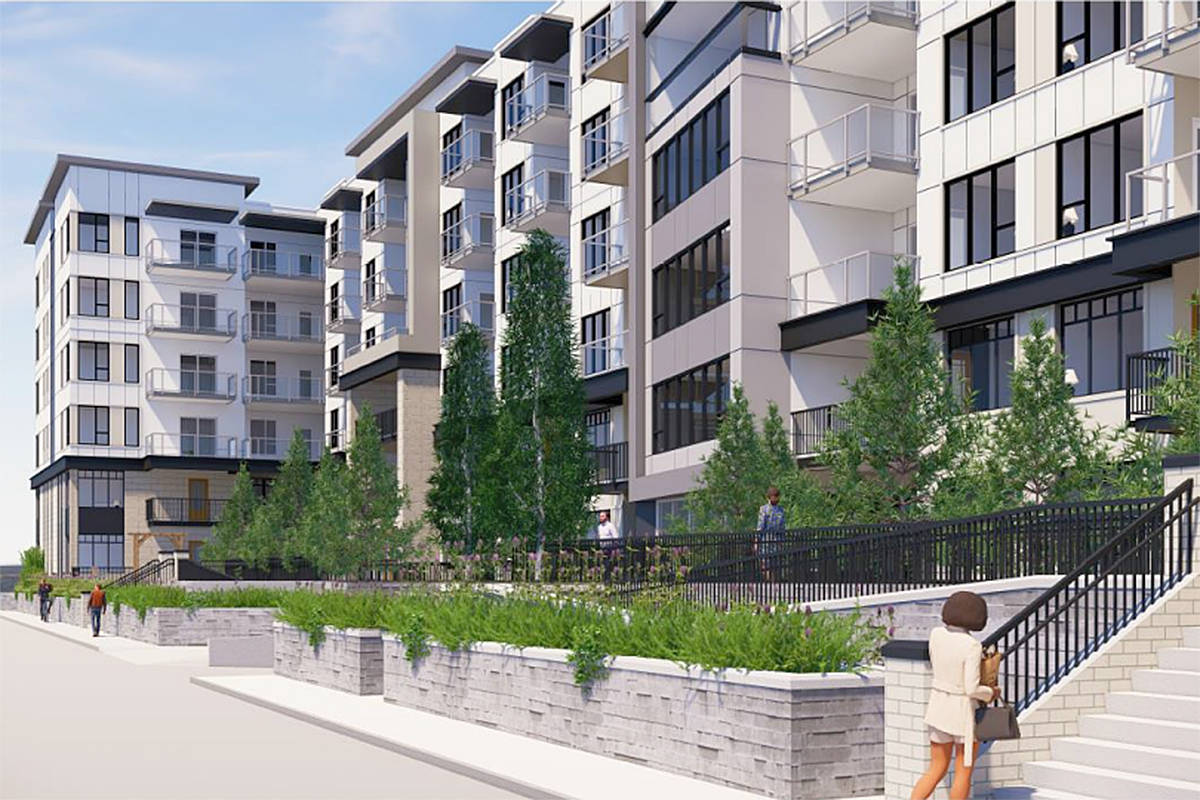 Artist's impression of the six-storey rental development planned to replace the West Country hotel in Langley City on the 20200 block of 56th Avenue (special to Langley Advance Times)