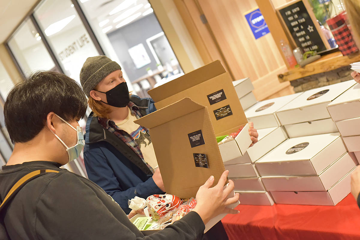 TWU students received gift boxes. (Special to Langley Advance Times)
