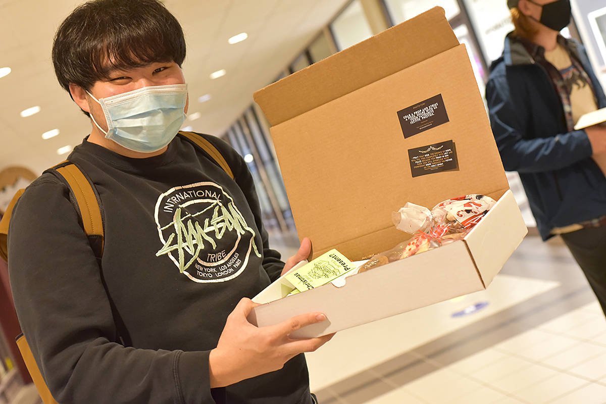 TWU students received gifts. (Special to Langley Advance Times)