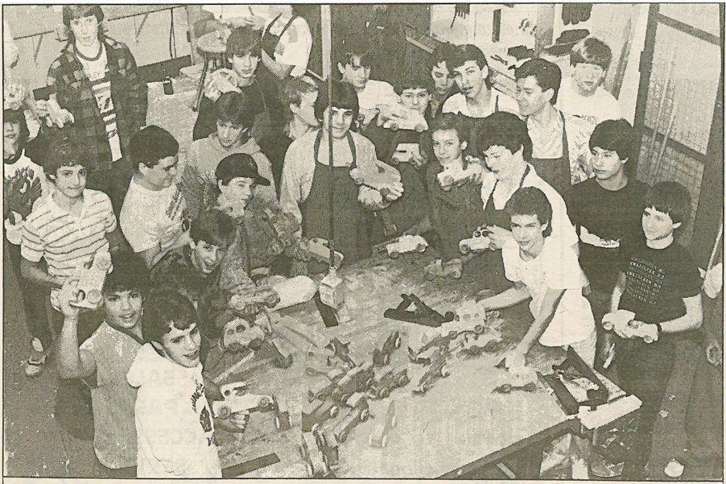 A Langley Times newspaper clipping of Brookswood Secondary students building toys for Langley Christmas Bureau families. Published Dec. 19, 1987. (Langley Advance Times files)