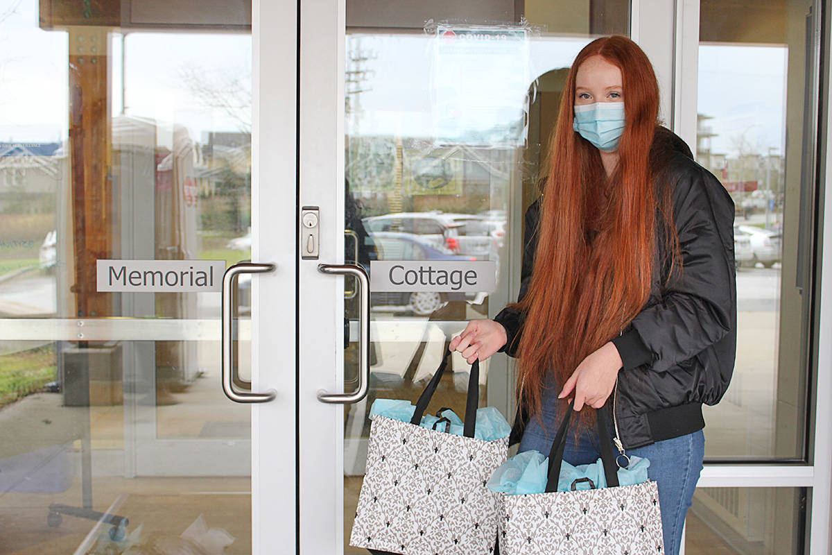 Emma Miller assembled 25 gift packages for residents of Memorial Cottage at Langley Memorial Hospital and delivered them recently. (LMHF/Special to the Langley Advance Times)