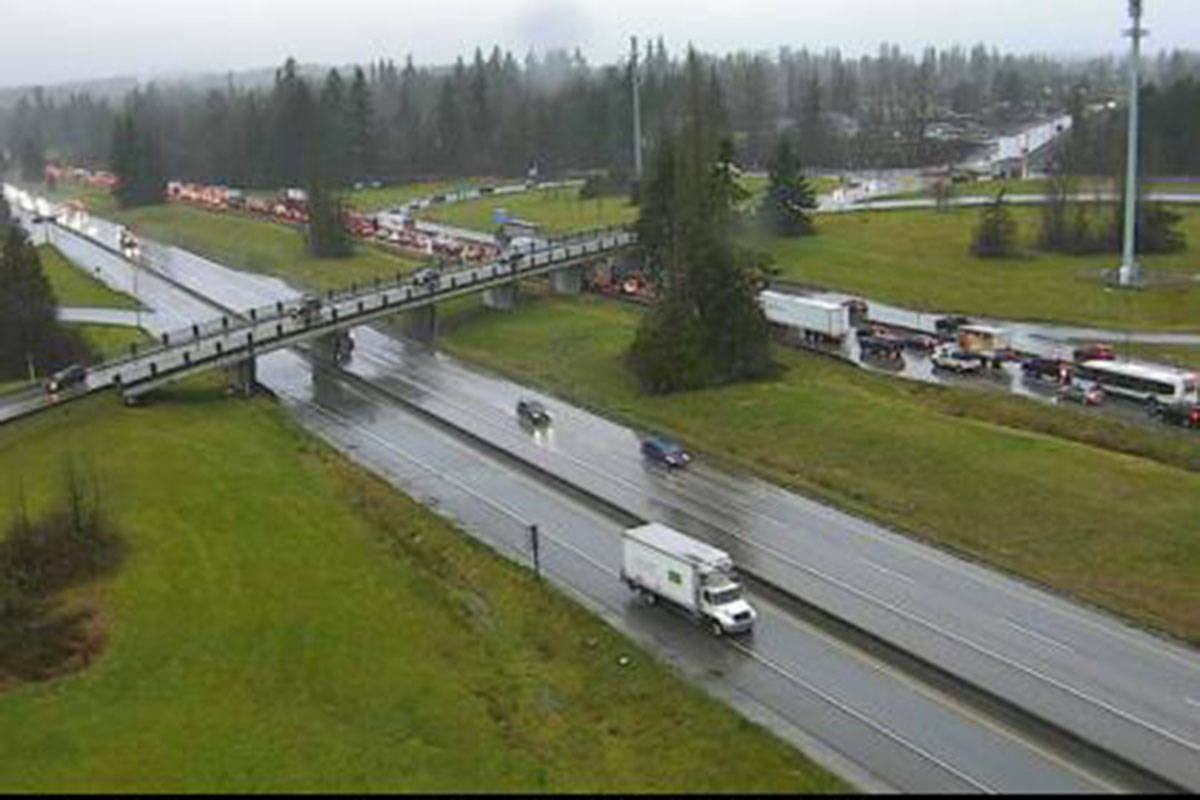 This Trans-Canada Highway camera at 232nd looking west shows traffic congestion after a vehicle incident was reported westbound at 216th Street on Monday morning, Dec. 21. 2020. (Drive BC)