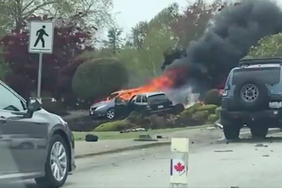 Two vehicles caught fire at the Douglas/Peace Arch border on May 2, 2019, killing a Port Moody pastor. Surrey RCMP confirmed Monday (Dec. 21) that they have recommended charges. (Brendan Payne video screenshot)