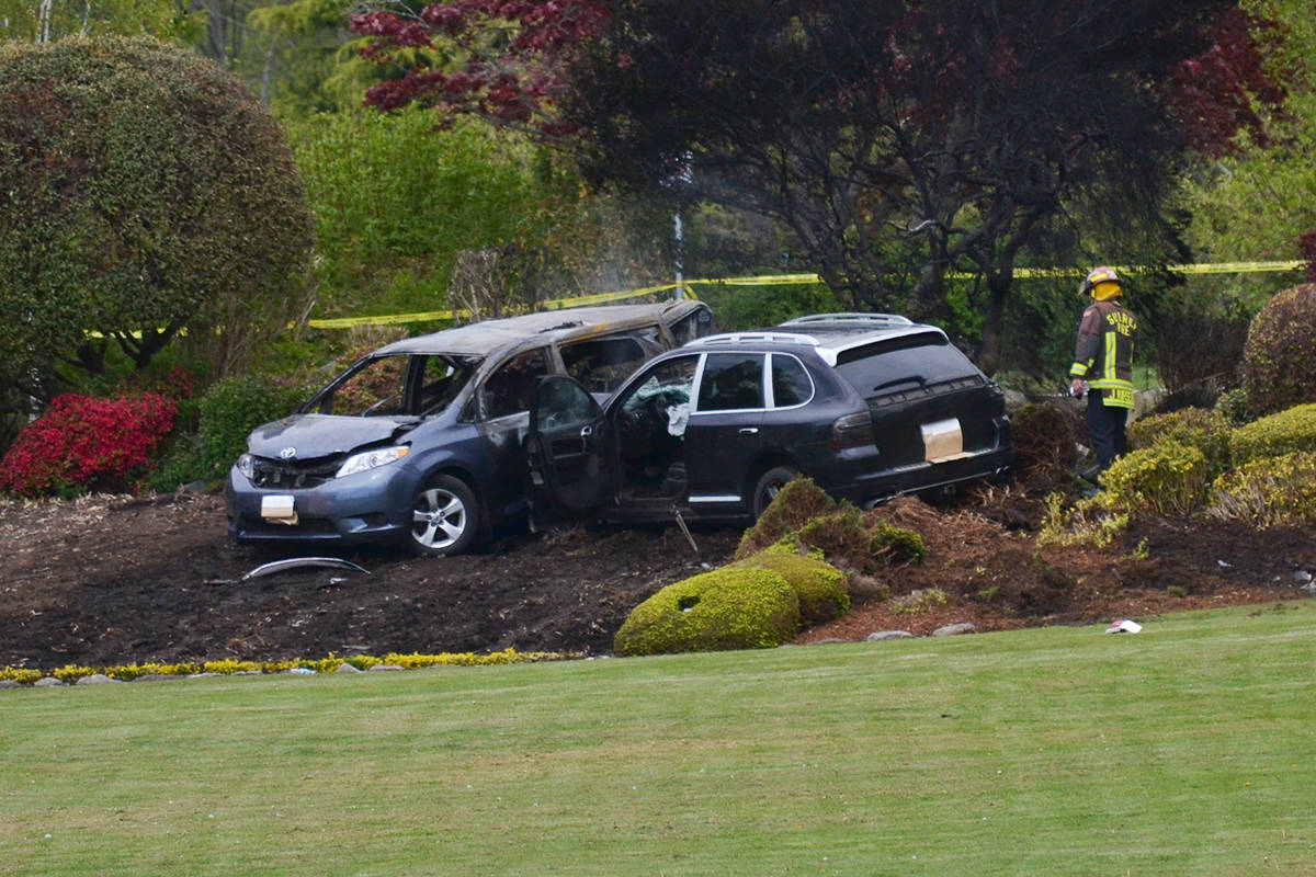 Two vehicles caught fire at the Douglas/Peace Arch border following a collision on May 2, 2019. (File photo)