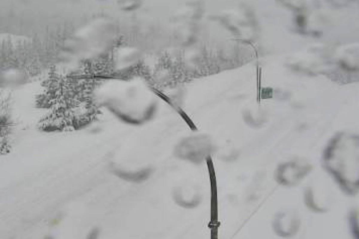 A highway camera view of Highway 5 at the Britton Creek rest area, as the highway remains closed. (DriveBC photo)