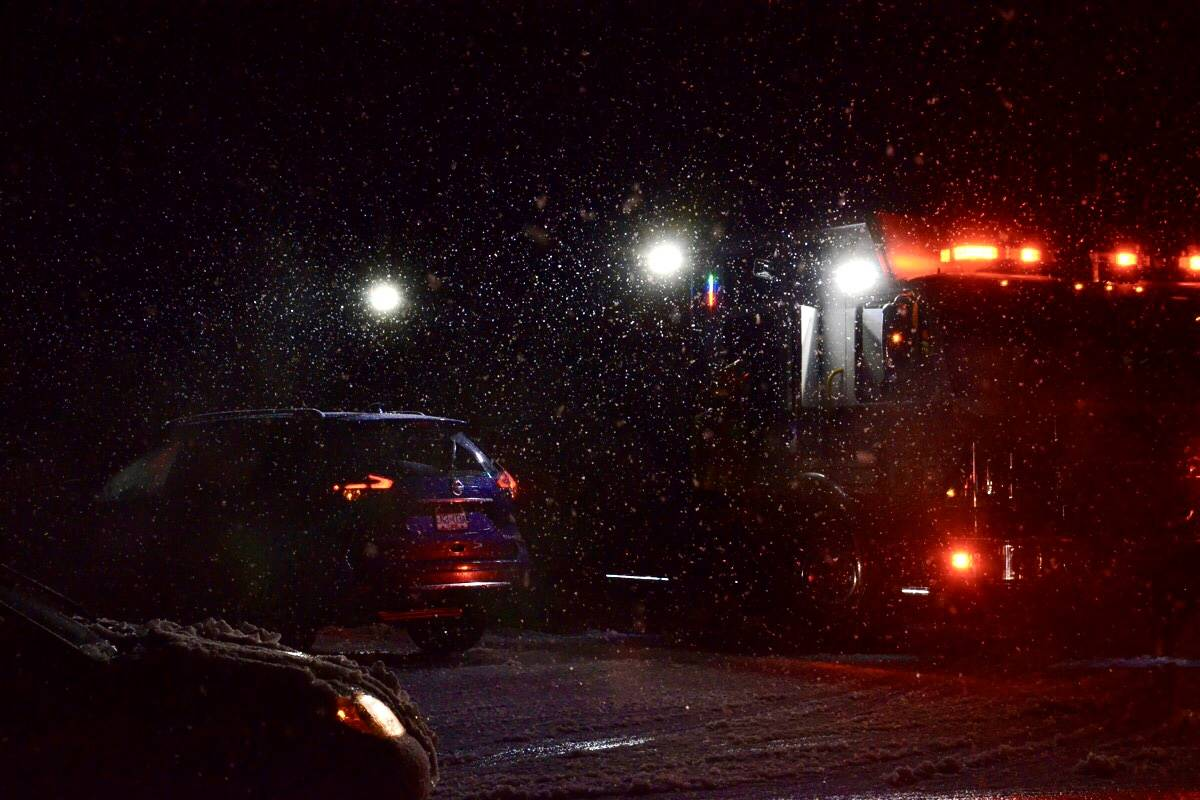 Langley City around 208th Street was without power after heavy wet snows Monday, Dec. 2, 2020 (Heather Colpitts/Langley Advance Times)