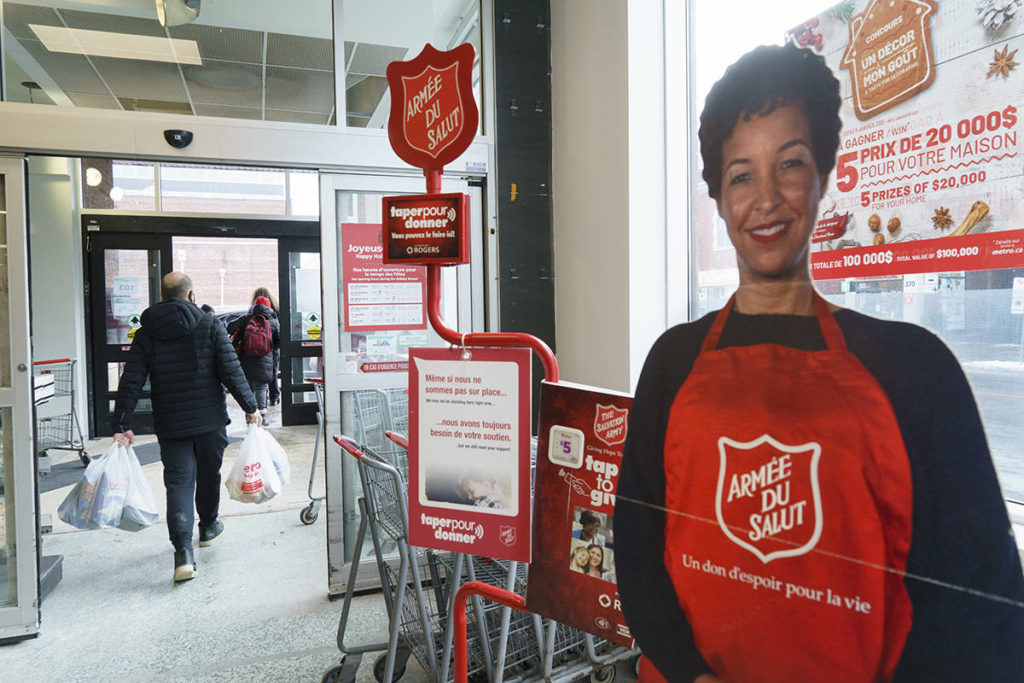 An automated donation stand for the Salvation Army is seen on the way out of a grocery store in Montreal, on Monday, December 21, 2020. THE CANADIAN PRESS/Paul Chiasson