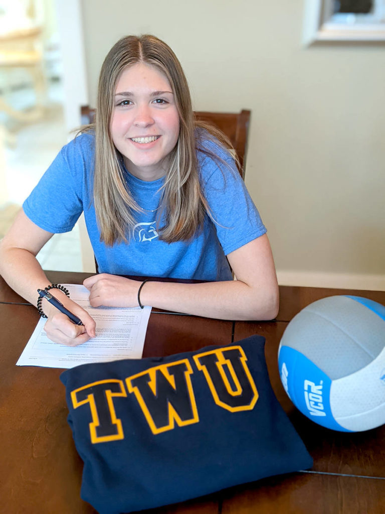 Taryn Grandia signs with Trinity Western Spartans. (Kevin Grandia/Special to the Aldergrove Star)