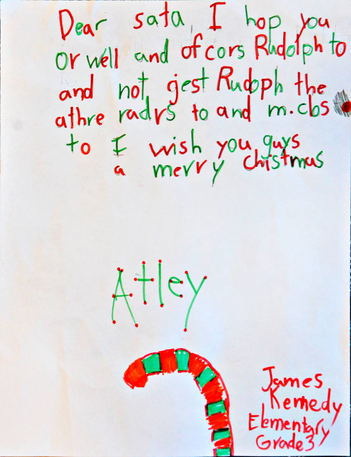 Atley, Grade 3, James Kennedy Elementary